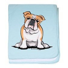 Cute English Bulldog baby blanket