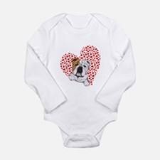 English Bulldog Love Long Sleeve Infant Bodysuit