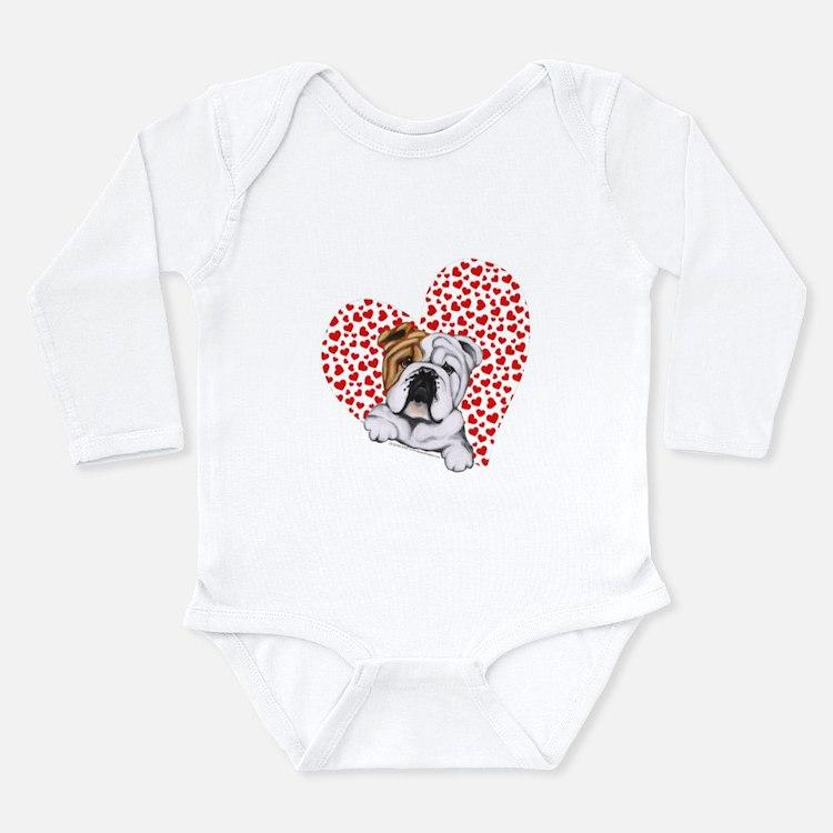 English Bulldog Love Long Sleeve Infant Bodysuit