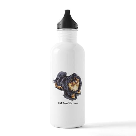 Black Tan Pomeranian Stainless Water Bottle 1.0L