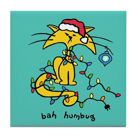Christmas Cat Tile Coaster