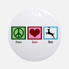 Peace Love Deer Ornament (Round)