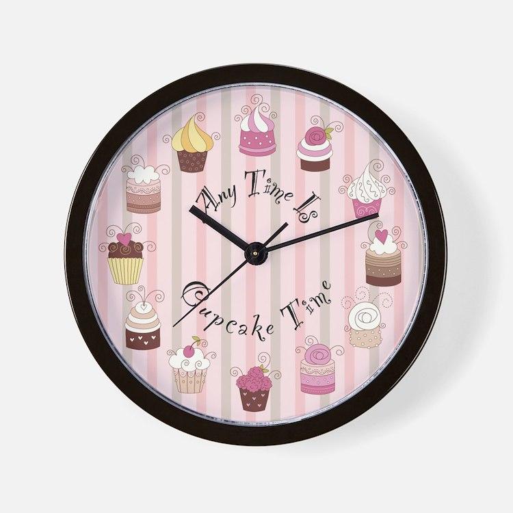 Pink and Brown Cupcake Wall Clock