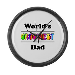 World's Grooviest Dad Large Wall Clock