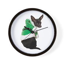 Santa Chihuahua Wall Clock