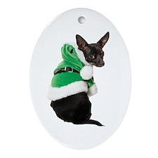 Santa Chihuahua Ornament (Oval)
