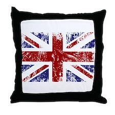 British Flag Punk Grunge Throw Pillow