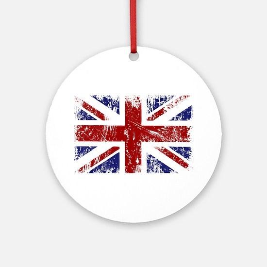British Flag Punk Grunge Ornament (Round)