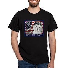 Alaskan Malamute Puppy UN Paws Flag Black T-Shirt