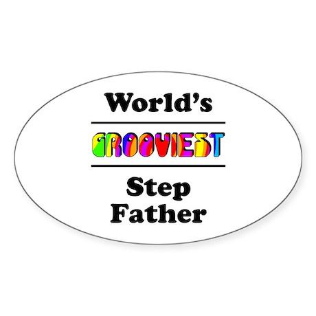 World's Grooviest Step Father Sticker (Oval 10 pk)