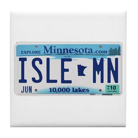 Isle License Plate Tile Coaster