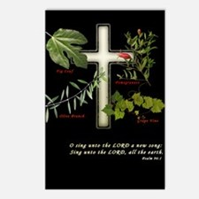 Cross with olive branch, fig Postcards (Package o
