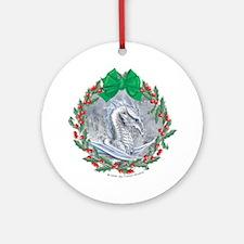 White Dragon Wreath Ornament (Round)