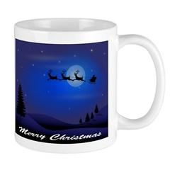 Santa flying over the moon Mug