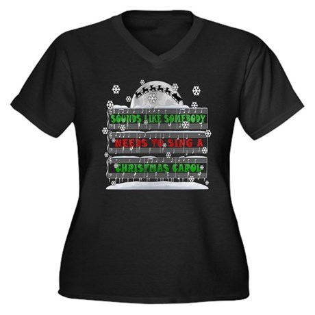 CHRISTMAS CAROL ELF CLASSIC Women's Plus Size V-Ne