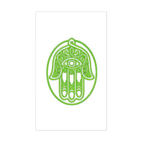 Hamsa Green Sticker (Rectangle)