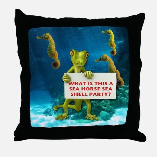 Sea Horse Sea Shell Throw Pillow