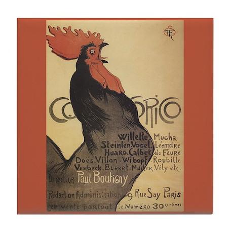 Cocorico Rooster Vintage Poster Art Tile Coaster