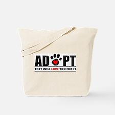 Adopt Paw Print Tote Bag