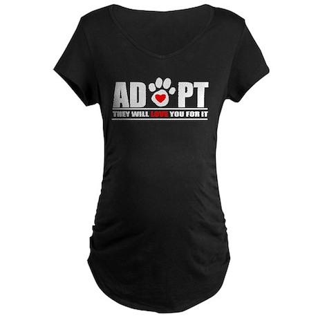 Adopt Paw Print Maternity Dark T-Shirt