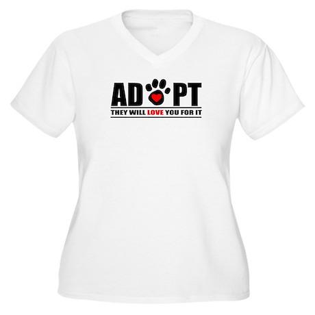 Adopt Paw Print Women's Plus Size V-Neck T-Shirt