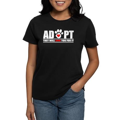 Adopt Paw Print Women's Dark T-Shirt