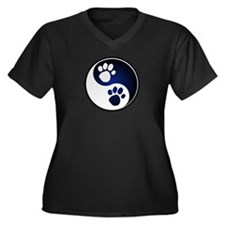 Paw Ying Yang Women's Plus Size V-Neck Dark T-Shir
