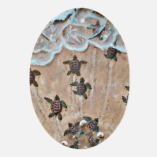 Turtle Hatchlings Ornament (Oval)