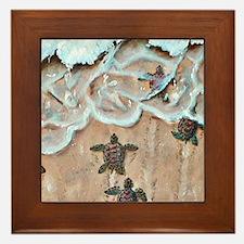 Turtle Hatchlings Framed Tile