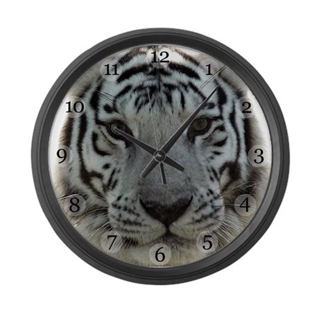 White Tiger Large Wall Clock By Marieterry