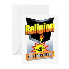 Religion: Kills Folks Dead! Greeting Cards (Pk of