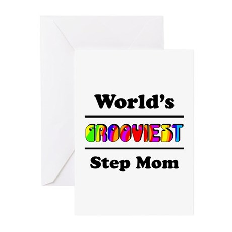 World's Grooviest Step Mom Greeting Cards (Pk of 1