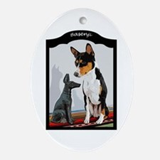 Basenji and Anubis Ornament (Oval)