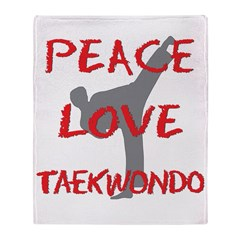 Peace Love Taekwondo Throw Blanket