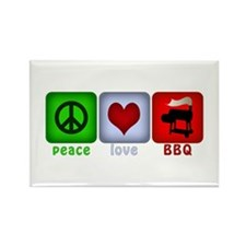 Peace Love and BBQ Rectangle Magnet (10 pack)