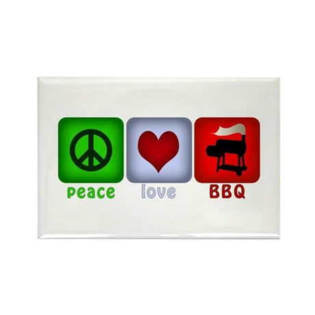 Peace Love and BBQ Rectangle Magnet (100 pack)