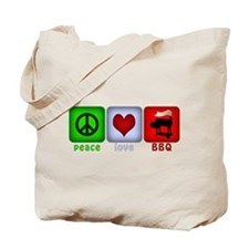 Peace Love and BBQ Tote Bag
