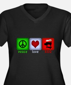 Peace Love and BBQ Women's Plus Size V-Neck Dark T