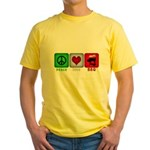 Peace Love and BBQ Yellow T-Shirt