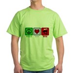 Peace Love and BBQ Green T-Shirt