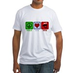 Peace Love and BBQ Fitted T-Shirt