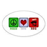 Peace Love and BBQ Sticker (Oval 50 pk)