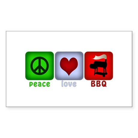 Peace Love and BBQ Sticker (Rectangle)