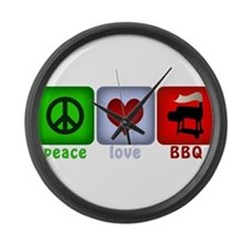 Peace Love and BBQ Large Wall Clock