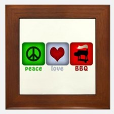 Peace Love and BBQ Framed Tile