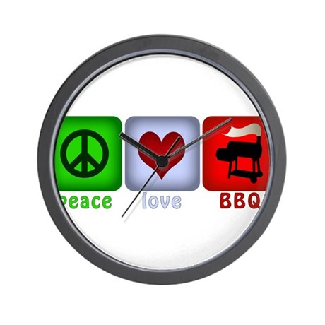 Peace Love and BBQ Wall Clock