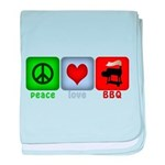 Peace Love and BBQ baby blanket