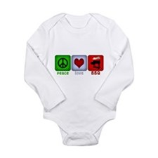 Peace Love and BBQ Long Sleeve Infant Bodysuit