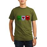 Peace Love and BBQ Organic Men's T-Shirt (dark)