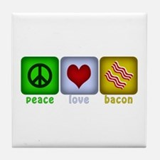 Peace Love and Bacon Tile Coaster